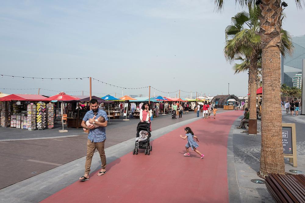 DUBAI, UAE —JANUARY 19, 2017: Boardwalk at Jumeirah Beach Residence (JBR) located in Dubai Marina.