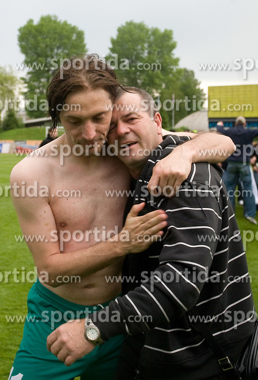 Miran Pavlin and Boris Ferencak of Olimpija celebrate after football match of 2nd SNL between NK Olimpija Ljubljana and NK Zagorje, on May 03, 2009, in ZAK stadium, Ljubljana, Slovenia. Olimpija won 9:0 and 4 Rounds before the end won the 1st place in 2nd SNL. Next year they will play in First Slovenian League. (Photo by Vid Ponikvar / Sportida)