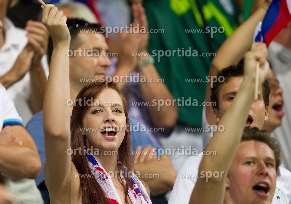 Fans of Slovenia celebrate after first goal during the opening friendly football match at a new stadium in Stozice between National teams of Slovenia and Australia on August 11, 2010 in Ljubljana. Slovenia defeated Australia 2-0. (Photo by Vid Ponikvar / Sportida)