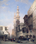 Cairo, the Gate of the Metwalys', 1839, (also Metawalea of Bab Zuweyleh).  Oil on canvas.   David Roberts (1796-1864) Scottish artist and orientalist. Egypt Street Trade Shop Stall Transport Camel Architecture House