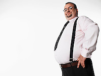Confident overweight businessman side view