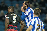 Atdhe Nuhiu (Sheffield Wednesday) holds his head in his hands as the penalty is saved by Alex Smithies (QPR) during the Sky Bet Championship match between Sheffield Wednesday and Queens Park Rangers at Hillsborough, Sheffield, England on 23 February 2016. Photo by Mark P Doherty.