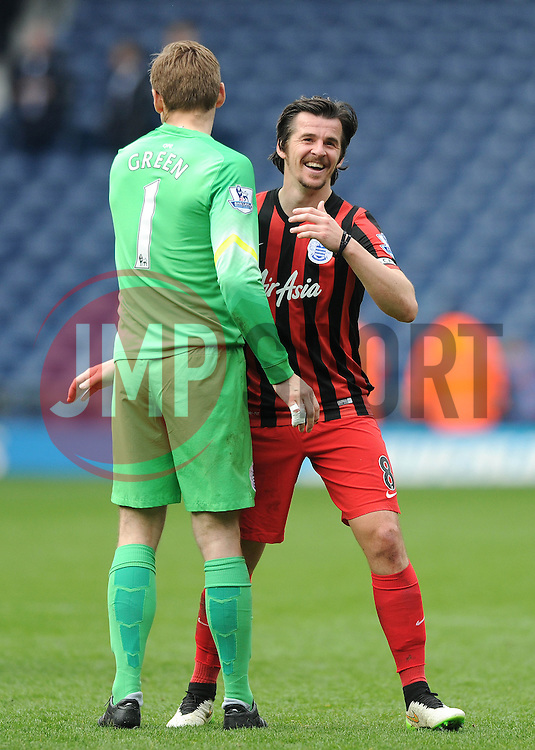 Queens Park Rangers' Joey Barton celebrates the win after the game with Queens Park Rangers' Robert Green - Photo mandatory by-line: Dougie Allward/JMP - Mobile: 07966 386802 - 04/04/2015 - SPORT - Football - West Bromwich - The Hawthorns - West Bromwich Albion v QPR - Barclays Premier League