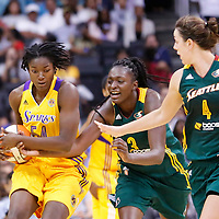 15 August 2014: Los Angeles Sparks forward/center Nikki Greene (54) vies for the ball with Seattle Storm center Waltiea Rolle (3) during the Los Angeles Sparks 77-65 victory over the Seattle Storm, at the Staples Center, Los Angeles, California, USA.