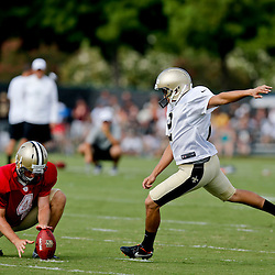 Aug 3, 2013; Metairie, LA, USA; New Orleans Saints kicker Jose Carlos Maltos (2) works on field goals during a scrimmage at the team training facility. Mandatory Credit: Derick E. Hingle-USA TODAY Sports