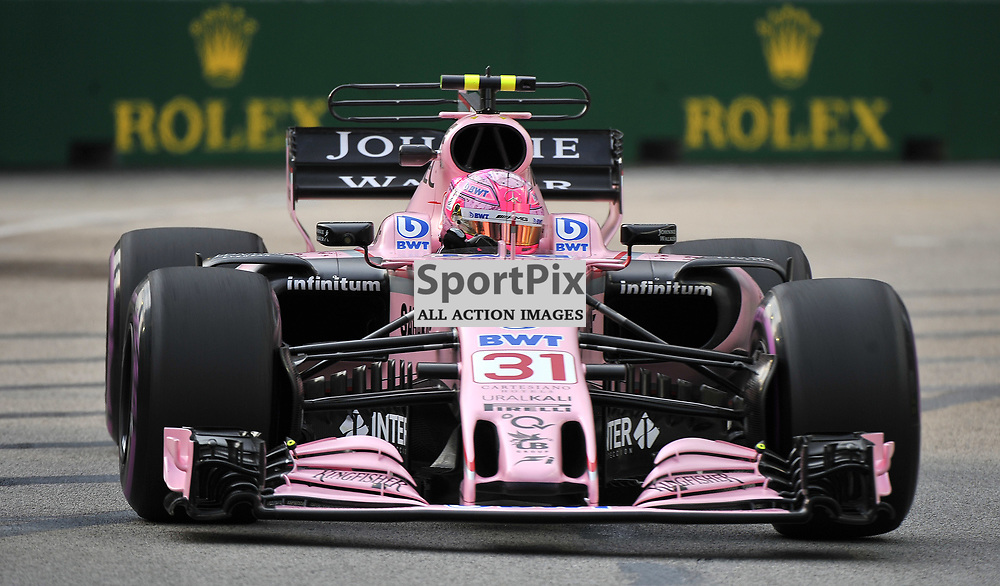 Esteban Ocon, Sahara Force India F1 Team.<br /> Day 2 of the 2017 Formula 1 Singapore Airlines, Singapore Grand Prix held at The Marina Bay street circuit, Singapore on the 15th September 2017.<br /> Wayne Neal | SportPix.org.uk