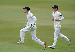 Gareth Roderick of Gloucestershire celebrates as Chris Dent of Gloucestershire catches out Rob Keogh of Northamptonshire from Liam Norwell of Gloucestershire bowl - Photo mandatory by-line: Dougie Allward/JMP - Mobile: 07966 386802 - 08/07/2015 - SPORT - Cricket - Cheltenham - Cheltenham College - LV=County Championship 2