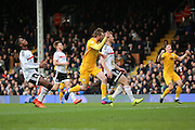 Preston North End forward Tom Barkhuizen (29) celebrating after scoring during the EFL Sky Bet Championship match between Fulham and Preston North End at Craven Cottage, London, England on 4 March 2017. Photo by Matthew Redman.