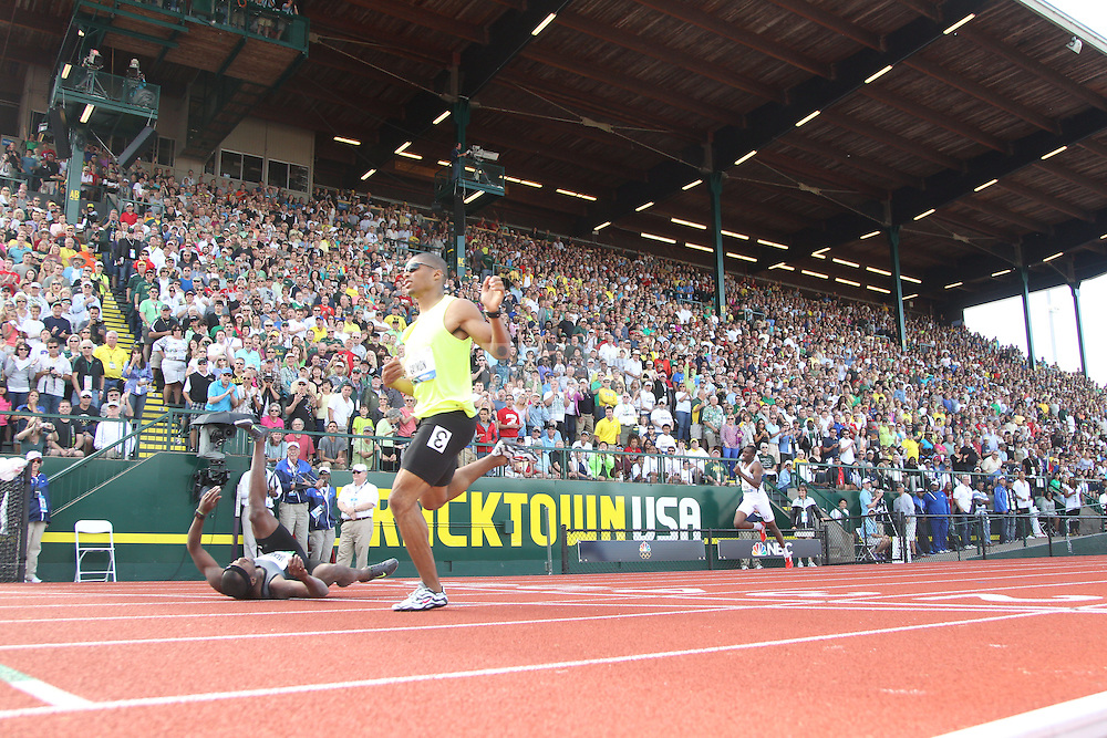 Bershawn Jackson (L) stumbles at the finish line to finish fourth during the finals of the 400m hurdles during day 10 of the U.S. Olympic Trials for Track & Field at Hayward Field in Eugene, Oregon, USA 1 Jul 2012..(Jed Jacobsohn/for The New York Times)....