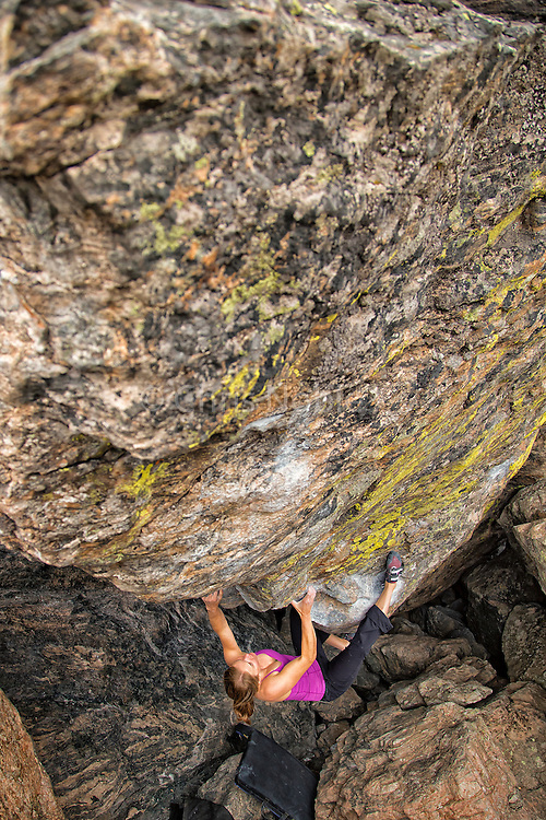 "Professional boulderer Angie Payne climbing ""Tommy's Arete,"" V7, Chaos Canyon, Rocky Mountain National Park."