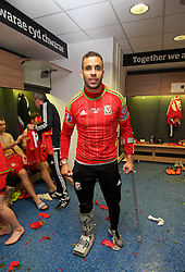 CARDIFF, WALES - Tuesday, October 13, 2015: Wales' Hal Robson-Kanu in the dressing room after the 2-0 victory over Andorra, and qualification for the finals, following the UEFA Euro 2016 qualifying Group B match at the Cardiff City Stadium. (Pic by David Rawcliffe/Propaganda)