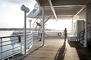 BALI, INDONESIA JAN 2015;<br />early morning jogging on board of the Chrystal Symphony Cruise docked in the Harbour in Bali, Indonesia, Jan 2015<br />@Giulio Di Sturco