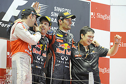 25.09.2011, Marina-Bay-Street-Circuit, Singapur, SIN, F1, Grosser Preis von Singapur, Singapur, im Bild Podium - Jenson Button (GBR),  McLaren F1 Team  - Sebastian Vettel (GER), Red Bull Racing - Mark Webber (AUS), Red Bull Racing// during the Formula One Championships 2011 Large price of Singapore held at the Marina-Bay-Street-Circuit Singapur, 2011-09-24  EXPA Pictures © 2011, PhotoCredit: EXPA/ nph/  Dieter Mathis       ****** out of GER / CRO  / BEL ******
