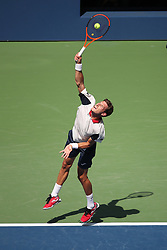 September 4, 2017 - New York City, New York, United States - Pablo Carrano Busta of Spain  competes against Diego Schwartsman (not seen) of Argentine during their 2017 US Open Men's Singles Round 4 match at the USTA Billie Jean King National Tennis Center in New York on September 5, 2017. (Credit Image: © Foto Olimpik/NurPhoto via ZUMA Press)