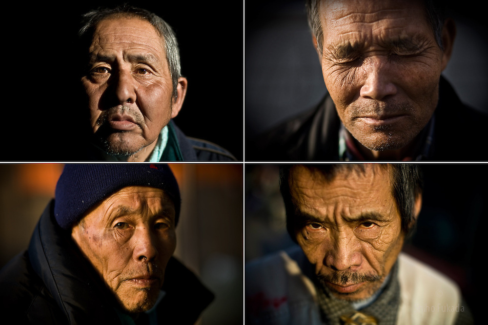 "Men in Kamagasak, from clockwise right: Tamiichi Kuwata, 65, who depends on welfare, Syunsuke Fujii, 64, unemployed  construction worker, Satoshi Sato, 64. Kamagasaki used to be a thriving day laborer's town, but today it is home to about 25,000 mainly elderly former day laborers, with an estimated 1,300 who are homeless. There are rarely any work for graying men in construction jobs, instead, alcoholism, poverty, street death, suicide, TB and most of all loneliness prevail here. Without family ties, these men live and die alone as social outcasts from the mainstream ""salary man"" culture."