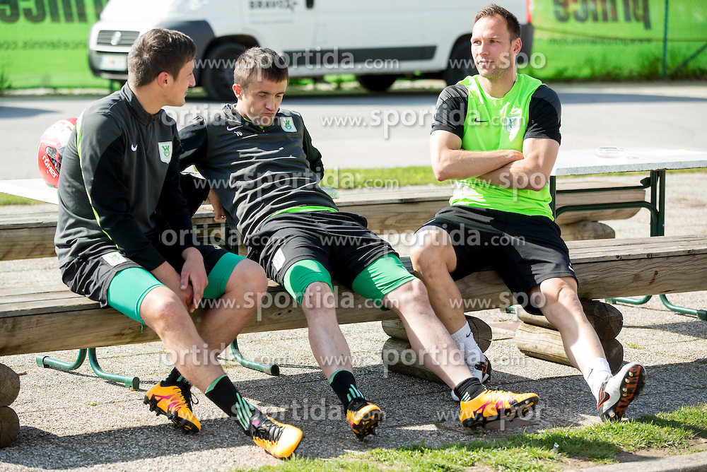 Miroslav Radovic #10 of NK Olimpija Ljubljana and Dejan Kelhar #4 of NK Olimpija Ljubljana during practice session of NK Olimpija, on April 21, 2016 in Sports park Ljubljana, ZAK, Ljubljana, Slovenia. Photo by Vid Ponikvar / Sportida
