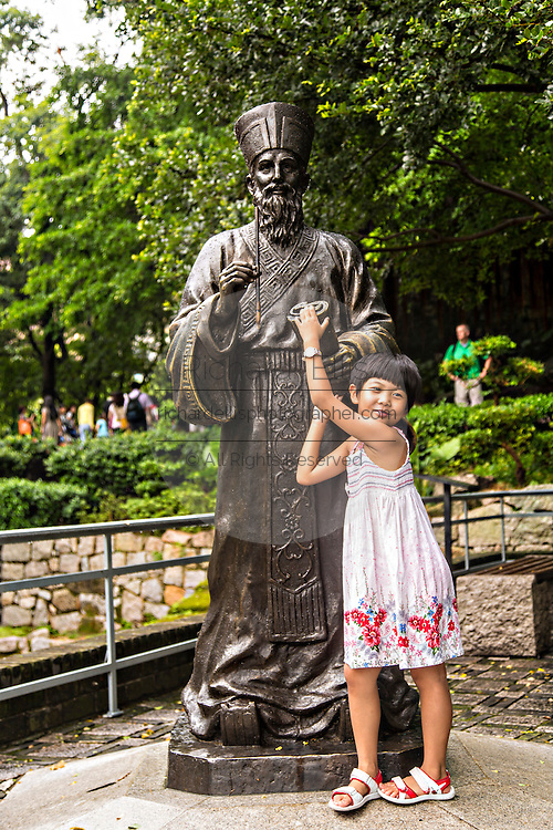 Statue of Padre Matteo Ricci an Italian Jesuit priest who brought Christianity to China in 1582 in Macau.