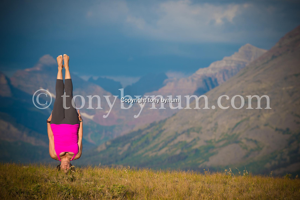 yoga head balance in nature in front of mountains, glacier national park