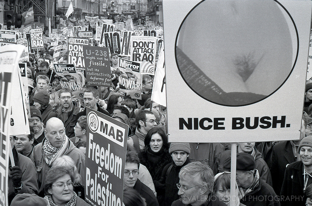 Not all bushes are evil. British humour at the Stop the War demonstration. Piccadilly Circus, London. 15/02/2003