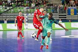 Ivan Milovanov of Russia and Nilson Miguel of Portugal during futsal semifinal match between National teams of Russia and Portugal at Day 9 of UEFA Futsal EURO 2018, on February 8, 2018 in Arena Stozice, Ljubljana, Slovenia. Photo by Urban Urbanc / Sportida