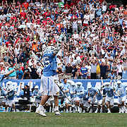 North Carolina Attackman CHRIS CLOUTIER (45), center, celebrates after scoring the game winning goal in overtime of The NCAA Division I NATIONAL CHAMPIONSHIP GAME between North Carolina and Maryland, Monday, May. 30, 2016 at Lincoln Financial Field in Philadelphia, Pa