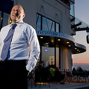 Hans Hess, owner of Elevation Burger, poses for a portrait at a franchise location at National Harbor in Oxon HIll, Md., on Saturday, June 27, 2009.