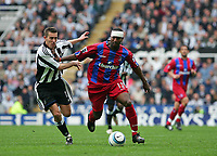 Photo. Andrew Unwin, Digitalsport<br /> Newcastle United v Crystal Palace, Barclays Premiership, St James' Park, Newcastle upon Tyne 30/04/2005.<br /> Newcastle's Darren Ambrose (L) gives chase to Crystal Palace's Mikele Leigertwood (R).