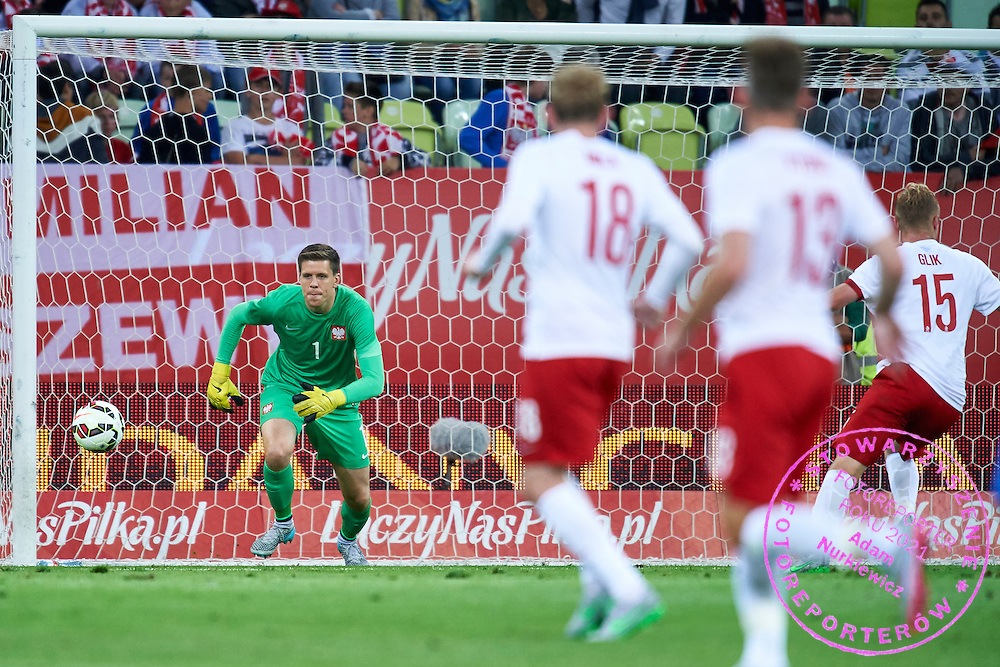 Goalkeeper Wojciech Szczesny from Poland in action during international friendly soccer match between Poland and Greece at PGE Arena Stadium on June 16, 2015 in Gdansk, Poland.<br /> Poland, Gdansk, June 16, 2015<br /> <br /> Picture also available in RAW (NEF) or TIFF format on special request.<br /> <br /> For editorial use only. Any commercial or promotional use requires permission.<br /> <br /> Adam Nurkiewicz declares that he has no rights to the image of people at the photographs of his authorship.<br /> <br /> Mandatory credit:<br /> Photo by &copy; Adam Nurkiewicz / Mediasport