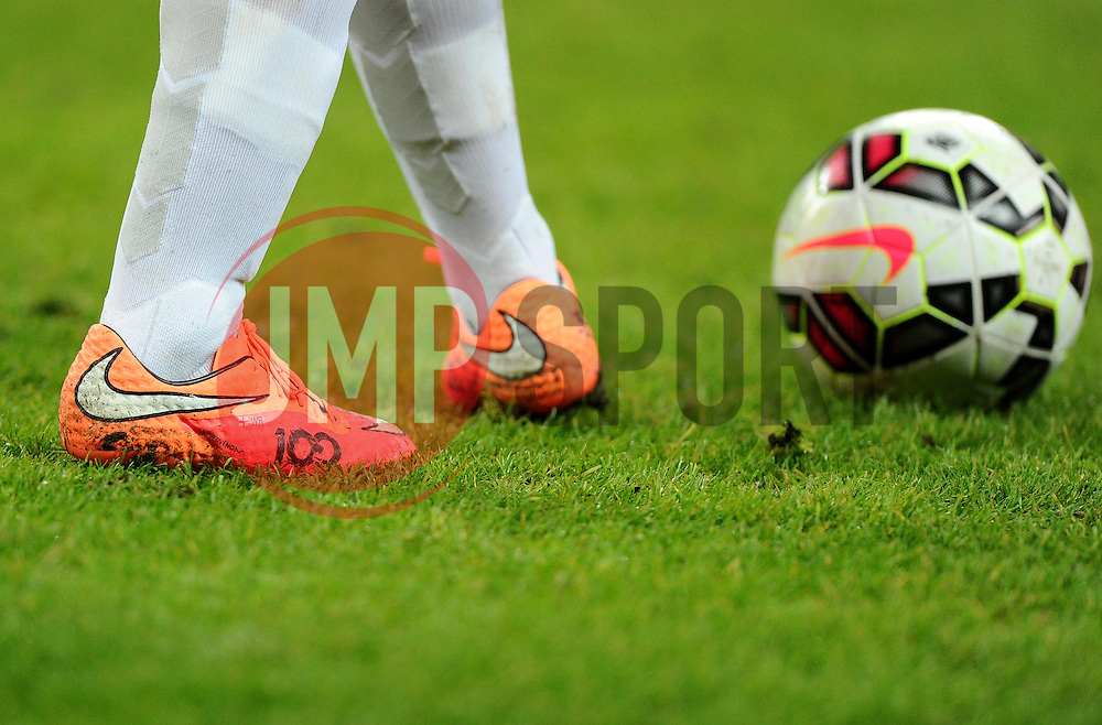 Wayne Rooney of England (Manchester United) wears special Nike boots making his 100th appearance for England - Photo mandatory by-line: Joe Meredith/JMP - Mobile: 07966 386802 - 15/11/2014 - SPORT - Football - London - Wembley - England v Slovenia - EURO 2016 Qualifier