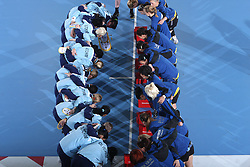 Teams of Valcea and Krim before handball match at Main round of Champions League between RK Krim Mercator, Ljubljana and CS Oltchim Rm. Valcea, Romania, in Arena Kodeljevo, Ljubljana, Slovenia, on 28th of February 2009. Krim won 35:34.