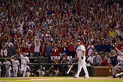 Nelson Cruz hits a walk-off grand slam home run in the 11th inning of Game 2 of the 2011 American League Championship Series between the Detroit Tigers and Texas Rangers.