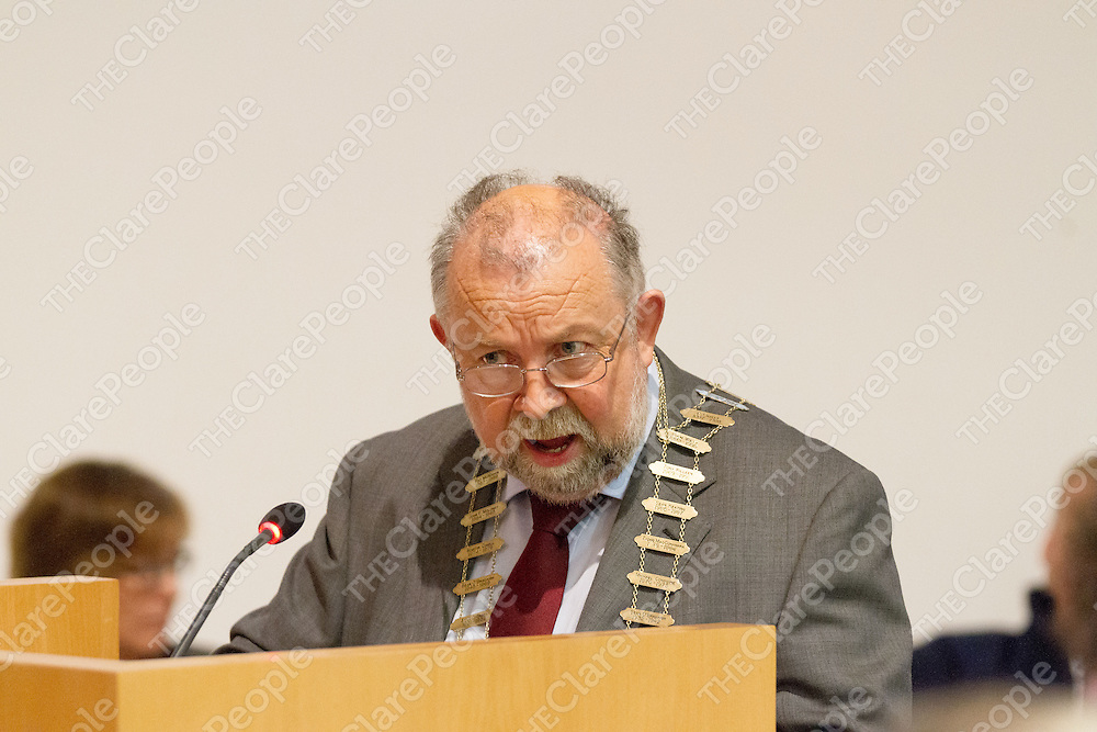 Mayor of Clare Cllr. John Crowe at the 1st Meeting of the Clare Co Council