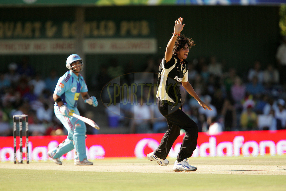 EAST LONDON, SOUTH AFRICA - 1 May 2009. Ishant Sharma appeals for the wicket of JP Duminy during the  IPL Season 2 match between the Mumbai Indians and the Kolkata Knight Riders held at Buffalo Park in East London. South Africa..