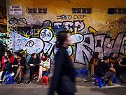 26 DECEMBER 2017 - HANOI, VIETNAM: Street food stand in the Old Quarter of Hanoi.        PHOTO BY JACK KURTZ