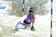 Mallory Franklin of Great Britain on her way to a bronze medal place in the C1 womens final. ICF Canoe slalom world cup at the Cardiff white water centre in Cardiff, South Wales on Saturday 9th June 2012.  pic by Andrew Orchard, Andrew Orchard sports photography,