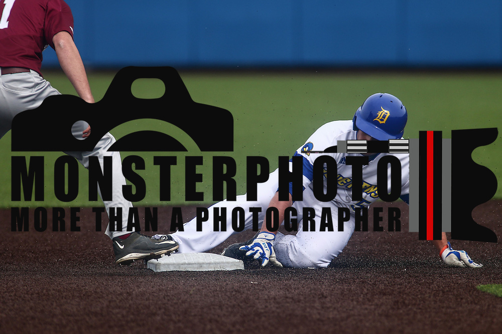 Delaware Outfielder Mike Krusinski (5) reaches second base safely after doubling during a regular season baseball game between Delaware and Saint Joseph's at Bob Hannah Stadium Tuesday April 19, 2016, in Newark.