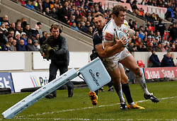Sale Sharks Byron McGuigan (left) tackles Exeter Chiefs' Ian Whitten during the Gallagher Premiership match at the AJ Bell Stadium, Salford.