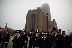 © Licensed to London News Pictures . 02/11/2015 . Liverpool , UK . Police outside the Cathedral after the service . The funeral of Police Constable Dave Phillips , at Liverpool Cathedral . Five people are charged in connection with his death , including Clayton Williams , 18 , from Wallasey , who is charged with murder . Photo credit: Joel Goodman/LNP