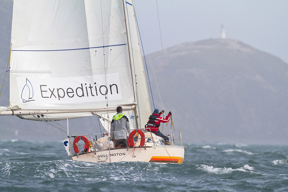 Expedition Coppelia sailed by Rob Croft and Sally Garrett at the Wellington restart of Round North Island two-handed yacht race. Wellington, New Zealand. 2 March 2011. Photo: Gareth Cooke/Subzero Images