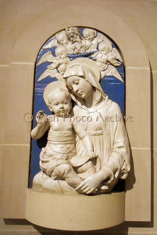 Virgin and Child by Sculptor Andrea della Robbia (1435–1525) Italian (Florence). ca. 1470–75. Glazed terracotta