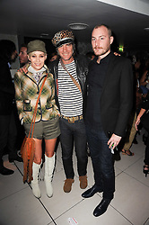 Left to right, SIOBHAN FAHEY, WILD CAT WILL (Will Blanchard) and JAMES SMALL at the W Hotels & American Express launch for the James Small collection at Number One Leicester Square, London on 22nd September 2010.