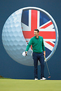 Justin Rose of England acknowledges the crowd during the British Masters 2018 at Walton Heath Golf Course, Walton On the Hill, Surrey on 12 October 2018. Picture by Martin Cole.