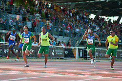 SHIKONGO Ananias Guide: TJIVIJU Even, PRADO Lucas Guide:  MARTINS Lorenzo Alves, GOMES Felipe Guide:  BORGES Jorge, NAM, BRA, 100m, T11, 2013 IPC Athletics World Championships, Lyon, France