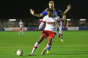 Freddie Ladapo plays a pass during the The FA Cup match between Solihull Moors and Rotherham United at the Automated Technology Group Stadium, Solihull, United Kingdom on 2 December 2019.