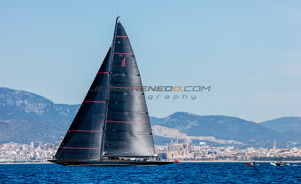 """From 24th March to 1st April the bay of Palma  host the 48th edition of the Trofeo Princesa Sofia IBEROSTAR, one of the most important Olympic Classes regatta in the world. Around a 800 sailors from 45 nations will meet in Mallorca to start the Olympic path towards Tokyo 2020, in one of the most international sports event and with a higher participation in Spain. Image free of editorial rights. © Jesús Renedo / Sailing Energy / Trofeo Princesa Sofía IBEROSTAR J Class """"Svea"""" sea trials in Palma  March 2017"""
