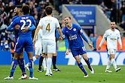 Leicester City midfielder Marc Albrighton celebrates scoring fourth goal during the Barclays Premier League match between Leicester City and Swansea City at the King Power Stadium, Leicester, England on 24 April 2016. Photo by Alan Franklin.