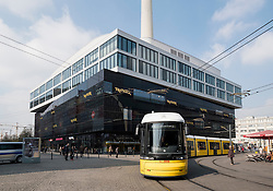 View of new TK Maxx shopping centre and tram in Alexanderplatz in Mitte Berlin Germany