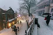 People walking on the mall road of Shimla, Himachal Pradesh