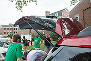 President Roderick McDavis greets students and families during move- in on East Green. Photo by Ben Siegel