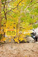 Warning Sign at Lake Sabrina Spillway, Inyo National Forest, California